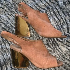 Aldo brown and gold block open toe heels